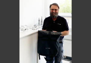 Our member Harald Flug was the winner of our Woodward 150 trivia quiz from the Stuttgart plant. He answered all questions correctly and received a Woodward L'Orange backpack.